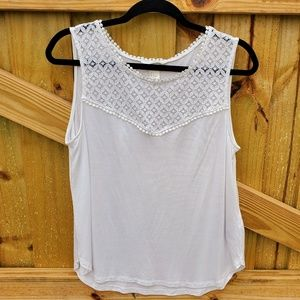 H&M White Tank Top with Lace